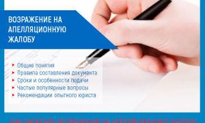 Возражение на апелляционную жалобу: образец 2019 — 2021 года по гражданскому и административному делу