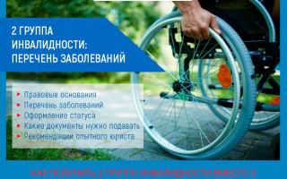 2 группа инвалидности: список заболеваний, оформление, выплаты