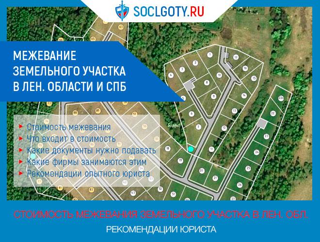 Межевание земельного участка стоимость в Лен. области и СПБ: стоимость