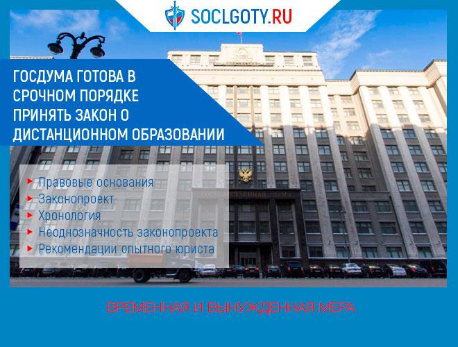 Госдума готова в срочном порядке принять законопроект о дистанционном образовании